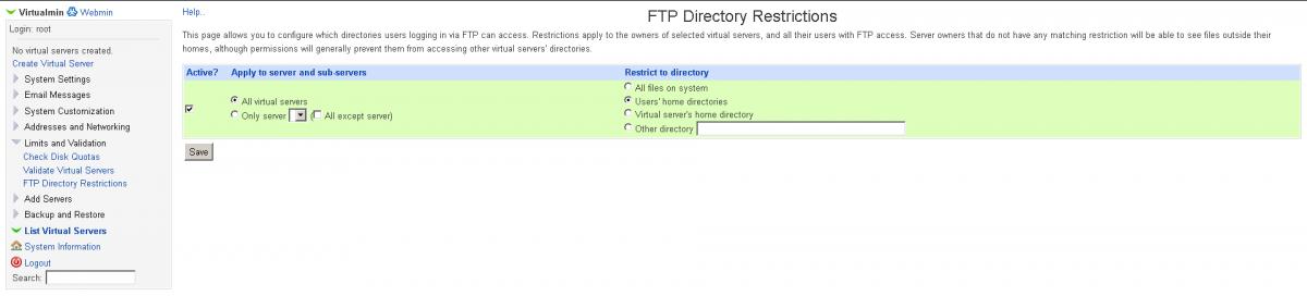 screenshot ενεργοποίησης jail για FTP users στο Virtualmin