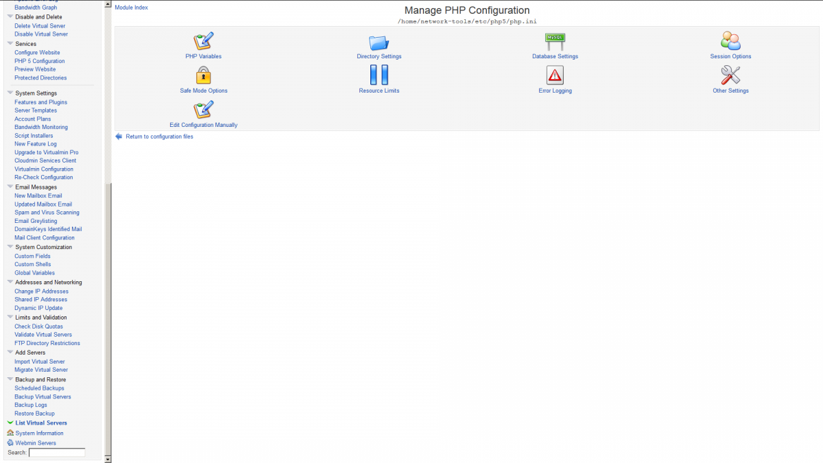 Virtualmin services configuration screenshot