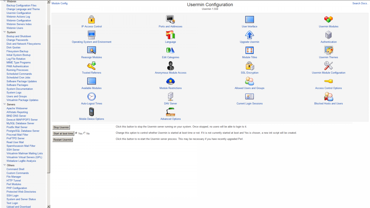 Webmin usermin configuration screenshot
