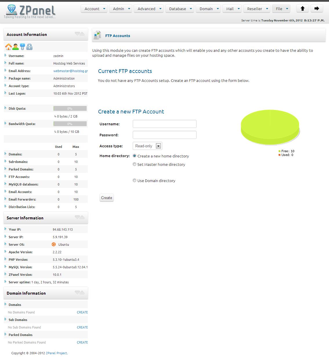 zpanel ftp accounts management